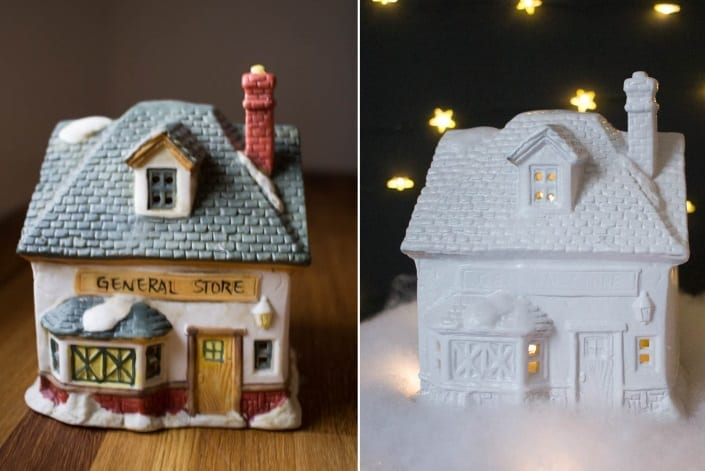 update a dollar store Christmas village with paint and glitter spray!
