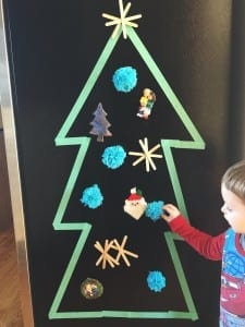 repurpose old and handmade ornaments into magnets! add some tape for a cute Advent calendar tree.