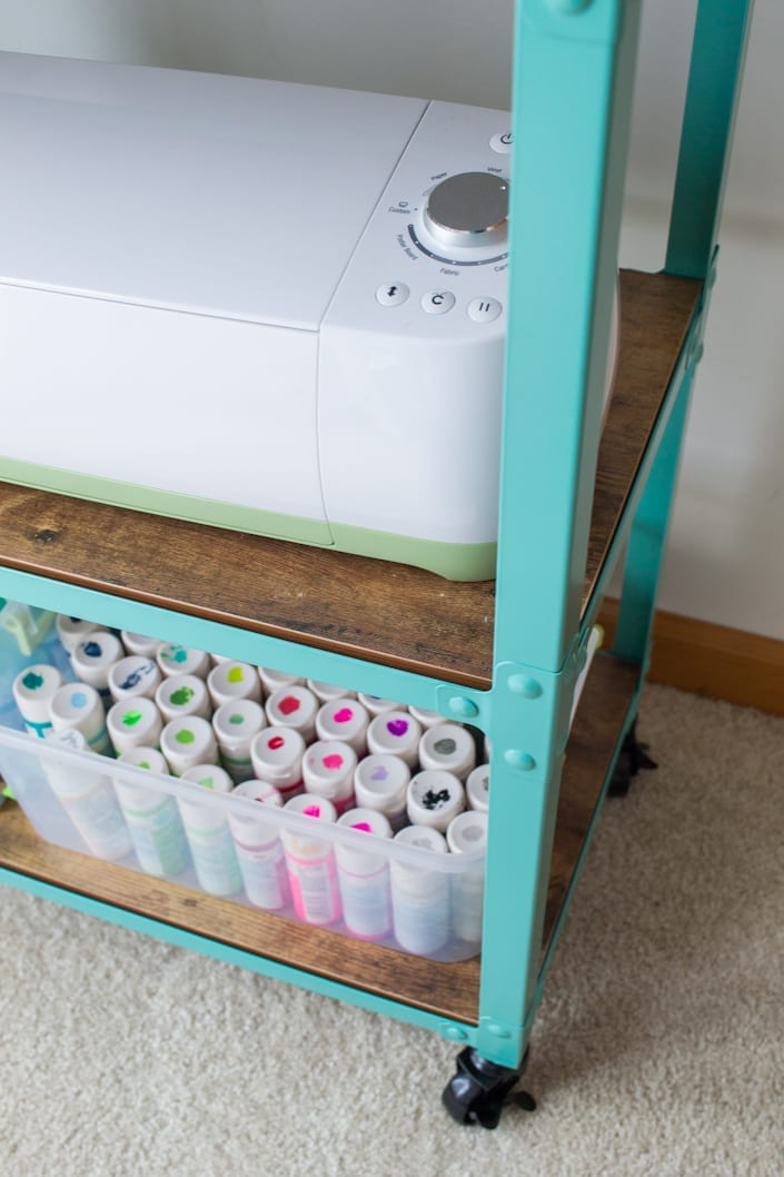 cricut and paint storage, turquoise cart, whitehouseblackshutters.com