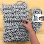 making a chunky finger crochet scarf!