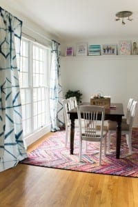 unused dining room turned colorful family space