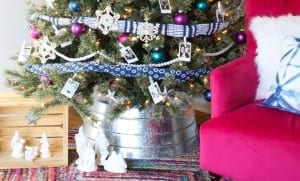 How to decorate a colorful, eclectic family photo Christmas tree.