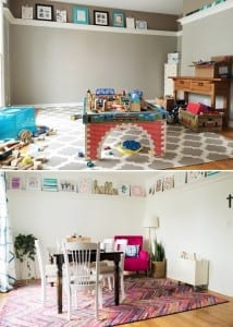unused dining room turned family space
