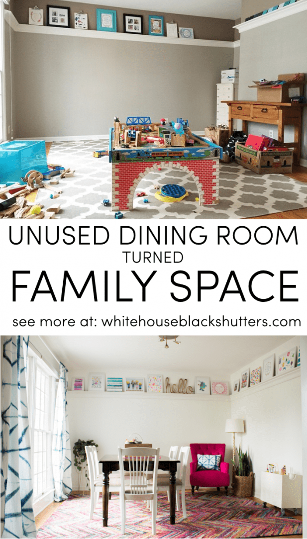unused dining room turned family space