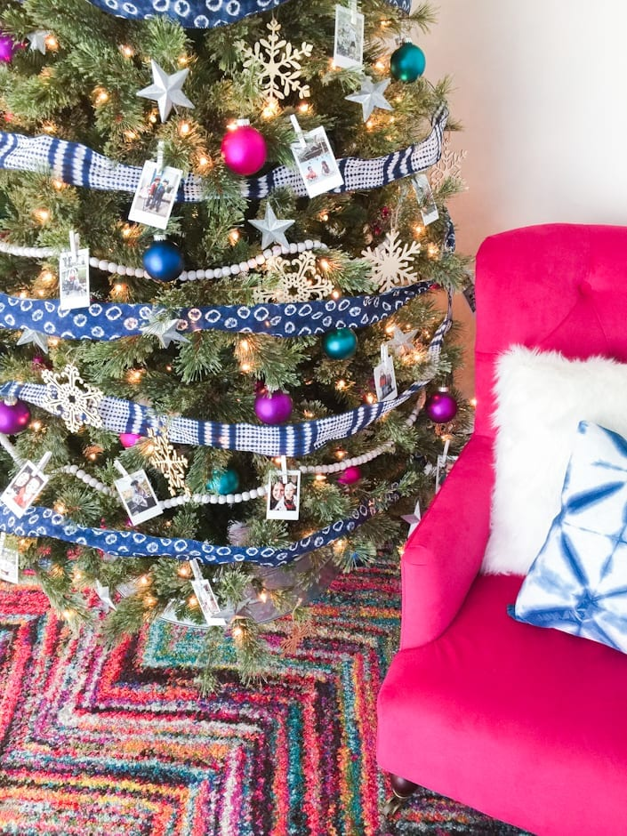 Decorating a Colorful, Eclectic Family Photo Christmas Tree