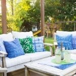 DIY shibori pillow covers refresh this outdoor living space