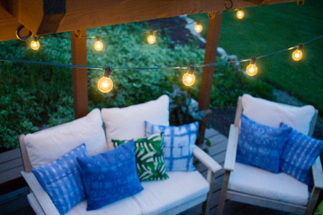 twinkle lights on an arbor