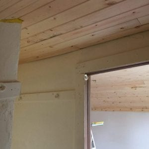 master bedroom planked ceiling progress