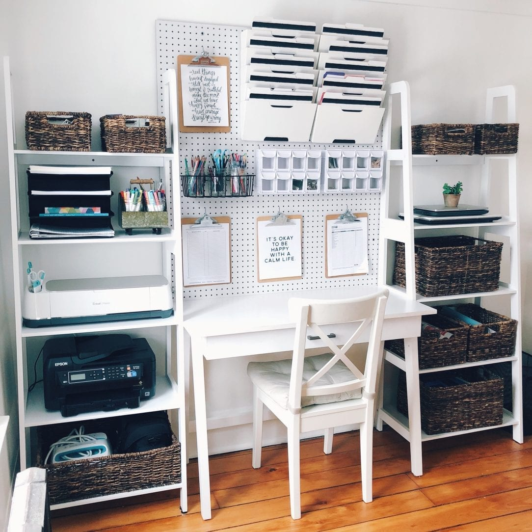 Simple Home Office Organization - white house black shutters